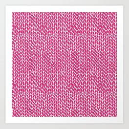 Hand Knit Hot Pink Art Print