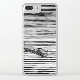 A Great Blue Heron Flying Over Cool Water Ripples Clear iPhone Case