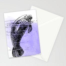 Purple Manatee Stationery Cards