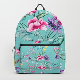 Chinoiserie Decorative Floral Motif Pale Turquoise Backpack