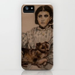 watercolor portrait of victorian girl with dog iPhone Case