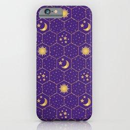 Golden Sun, golden Moon hexagons pattern on violet iPhone Case