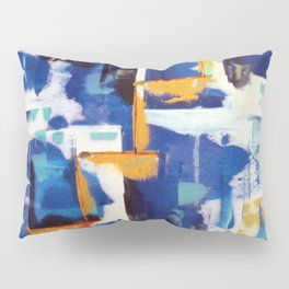 Stairway to Heaven: Abstract Acrylic Painting with blue and white and orange colors Pillow Sham
