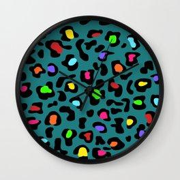 Rainbow Leopard Print Dark Teal Wall Clock