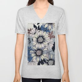 Cute floral pattern in vintage stylewith daisy flowers Unisex V-Neck