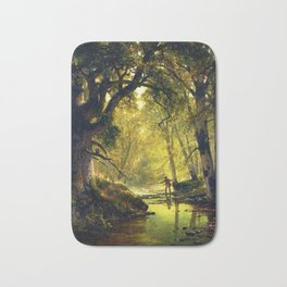 Angler in the Forest Interior by Thomas Hill Bath Mat