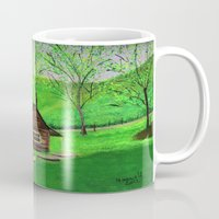 cabin Mugs featuring Hillside cabin by maggs326