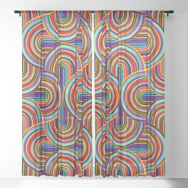CRAZY CURVES 01, rainbow colored Sheer Curtain