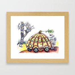 Punky Pumpkin Car for fast safe Halloween Carpool Trick or Treating Framed Art Print