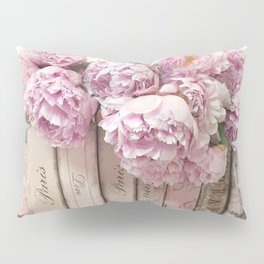 Shabby Chic Pink Peonies Paris Books Wall Art Print Home Decor Pillow Sham