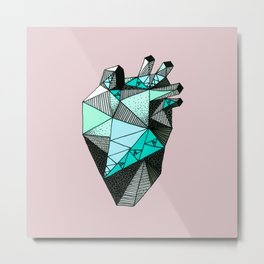 Single Minty Heart Metal Print