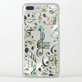Golden Framed  Musical notes pattern abalone shell Clear iPhone Case
