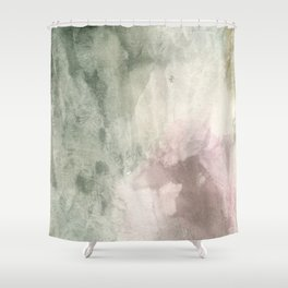 Abstract blush pink green white watercolor brushstrokes Shower Curtain