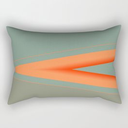 Army Green Orange Stripe Rectangular Pillow
