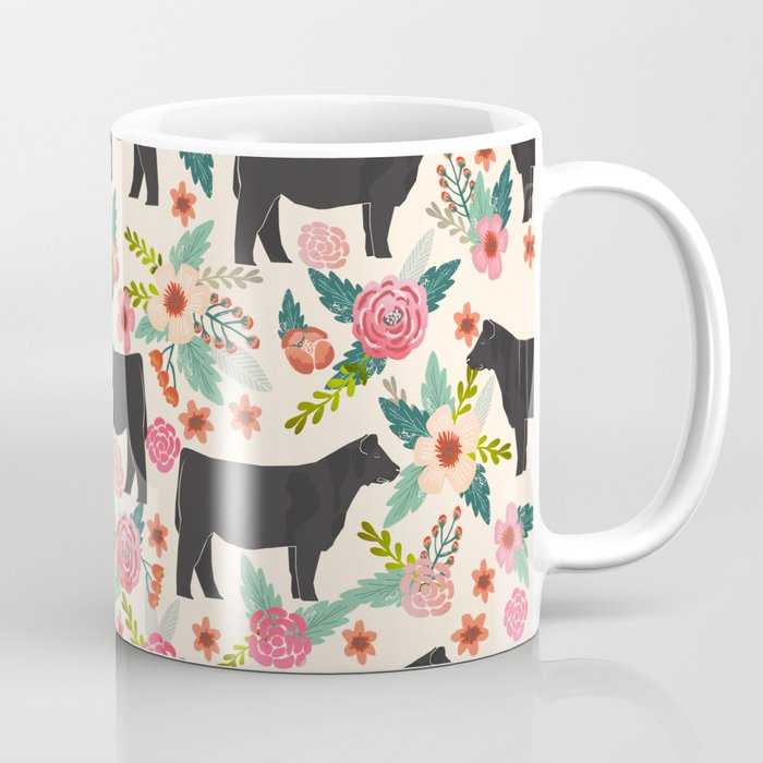 show steer cattle breed floral animal cow pattern cows florals farm