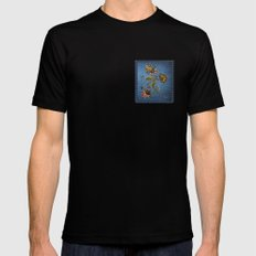 Denim Design With Jacobean Floral Mens Fitted Tee Black MEDIUM