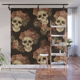 Skulls and Roses Spooky Halloween Wall Mural