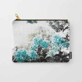 Turquoise & Gray Flowers Carry-All Pouch