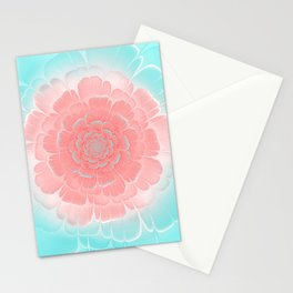 Romantic aqua and pink flower, digital abstracts Stationery Cards