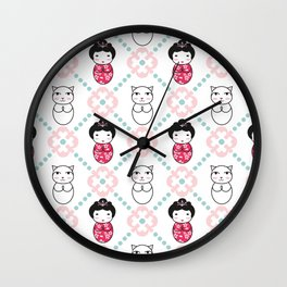 Kokeshi & Lucky Cat Wall Clock