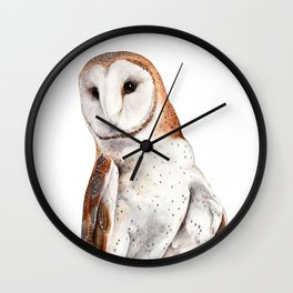 Barn Owl Watercolor Wall Clock