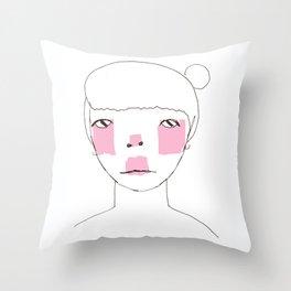 Line Drawing of Girl with Bun  Throw Pillow