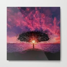 One Tree Hill seaside purple and pink sunset coastal landscape painting Metal Print
