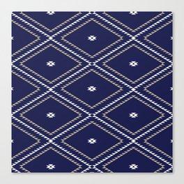 Navajo Pattern - Tan / White / Navy Canvas Print