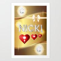 nicki Art Prints featuring Nicki 01 by Daftblue