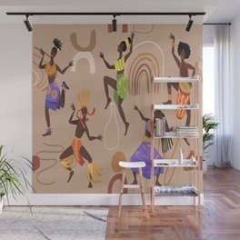 African female dancers. Cartoon aboriginal people dancing folk ritual dance modern vector poster. Wall Mural