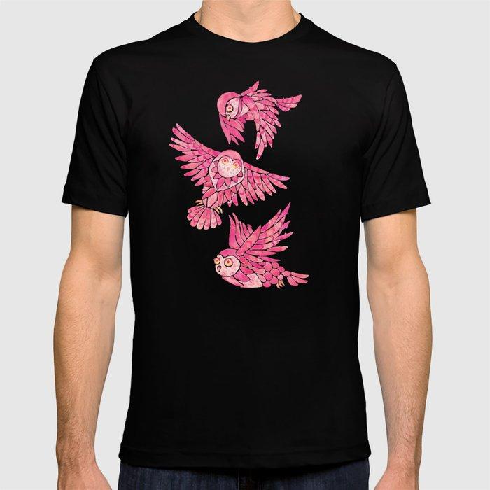 Owls in Flight – Pink Palette T-shirt