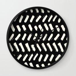 Tribal Dance Dot - Ivory on Black Wall Clock