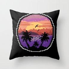 Pixel Sunset Throw Pillow