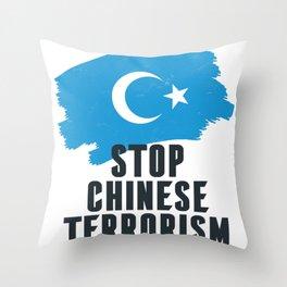 stop chinese terrorism  Throw Pillow