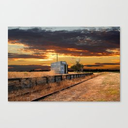 Sunset at the Coonawarra Rail Station Canvas Print