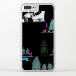 Through The Trees. Trees, Birds, Abstract, Black, White, Jodilynpaintings Clear iPhone Case