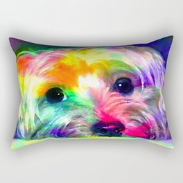 Colorful Yorkie By Annie Zeno  Rectangular Pillow