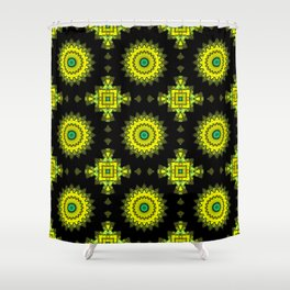 Black and yellow round ornament 1 . Shower Curtain