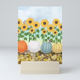 chipmunk, red breasted nuthatches, heirloom pumpkins, & sunflowers Mini Art Print