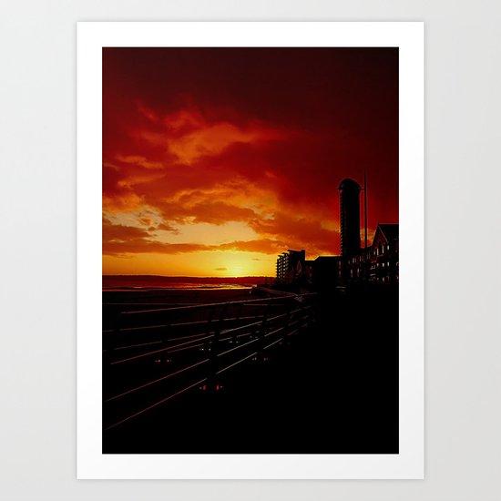 Sunset at Swansea Bay. Art Print