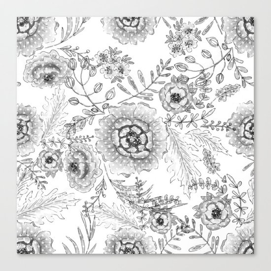 Black and white watercolor floral pattern with polka dots . Canvas Print