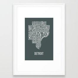 Detroit typography map poster - Slate Framed Art Print