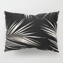 White Gold Palm Leaves on Black Pillow Sham