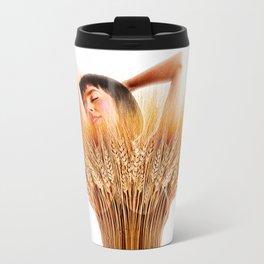 Woman And Wheat Travel Mug