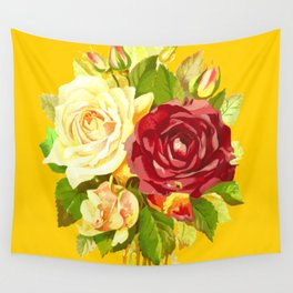 Roses Bloomed Vintage & Shabby Chic Floral Watercolor Pattern Abstract Wall Tapestry