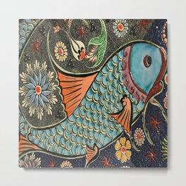 bohemian folk art orange aqua blue japanese good luck koi fish Metal Print