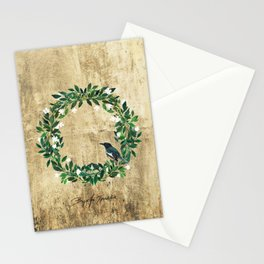 Wreath #White Flowers & Bird #Royal collection Stationery Cards