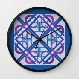 Interlaced Love Mandala - Blue Violet Wall Clock