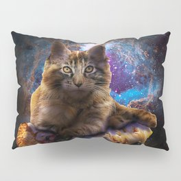 Galaxy Space Maine Coon Cat On Pizza Pillow Sham