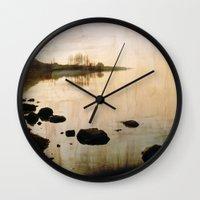 lake Wall Clocks featuring lake by laika in cosmos
